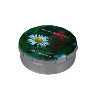 Jelly Belly White Daisy Party Favor 80th Birthday Jelly Belly Tins
