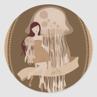 jelly_brown classic round sticker