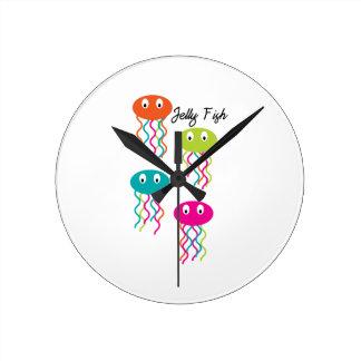 Jelly Fish Round Wall Clocks
