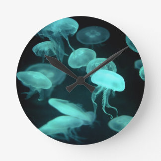 jelly fish glowing round clocks
