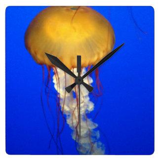 Jelly Fish Square Clock