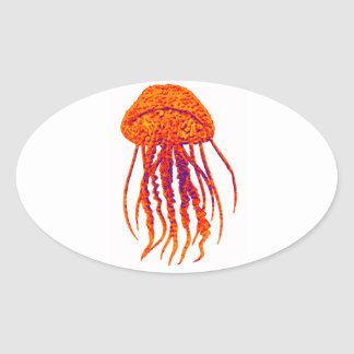 JELLY FISH STYLED OVAL STICKER