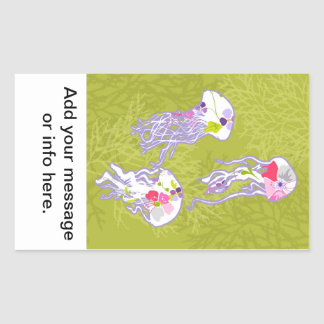 Jelly fishes on lime green background. rectangular sticker