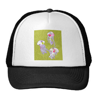 Jelly fishes on lime green background. trucker hat