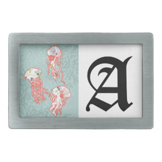 Jelly fishes on pastel blue background. belt buckle