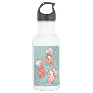 Jelly fishes on pastel blue background. 18oz water bottle