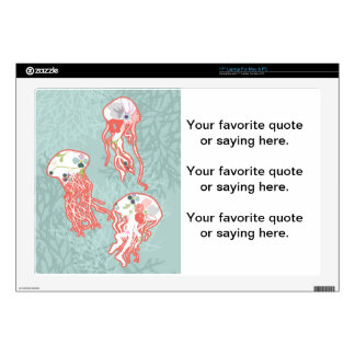 """Jelly fishes on pastel blue background. 17"""" laptop decals"""