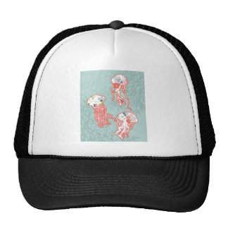 Jelly fishes on pastel blue background. trucker hat