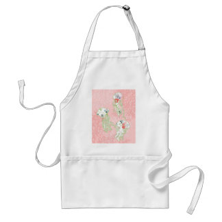 Jelly fishes on pastel pink background. adult apron