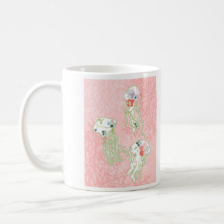 Jelly fishes on pastel pink background. coffee mug