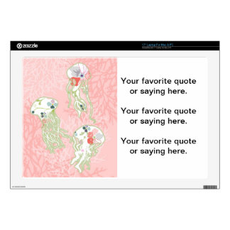 """Jelly fishes on pastel pink background. 17"""" laptop decals"""