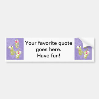 Jelly fishes on pastel violet background. bumper sticker