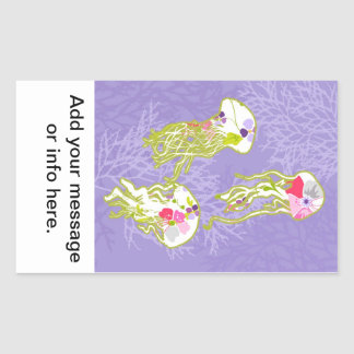 Jelly fishes on pastel violet background. rectangular sticker