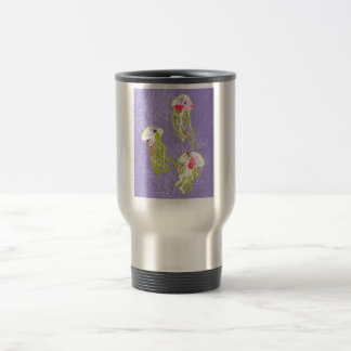 Jelly fishes on pastel violet background. travel mug