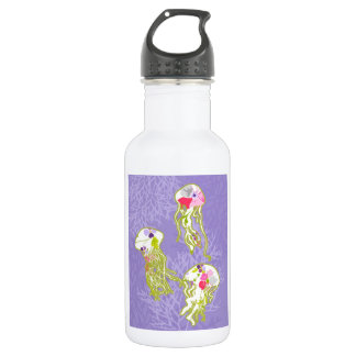Jelly fishes on pastel violet background. water bottle