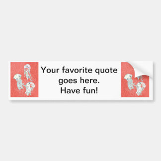 Jelly fishes on pink background. bumper sticker