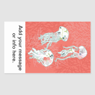 Jelly fishes on pink background. rectangular sticker