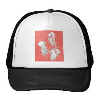 Jelly fishes on pink background. trucker hat