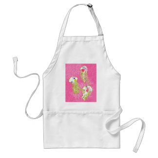 Jelly fishes on plain pink background. adult apron