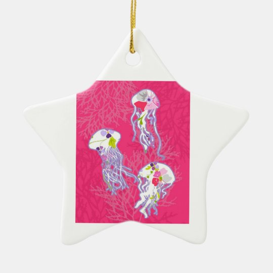 Jelly fishes on plain pink background. ceramic ornament