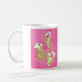 Jelly fishes on plain pink background. coffee mug