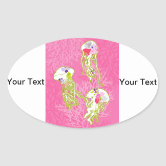 Jelly fishes on plain pink background. oval sticker