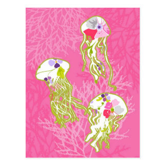 Jelly fishes on plain pink background. postcard
