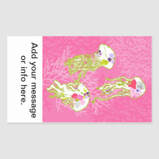 Jelly fishes on plain pink background. rectangular sticker