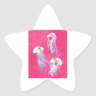 Jelly fishes on plain pink background. star sticker