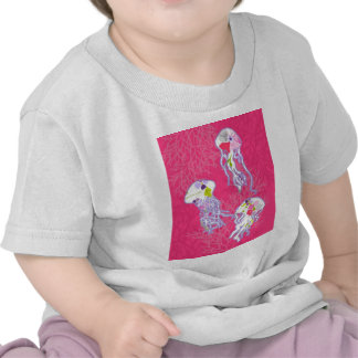 Jelly fishes on plain pink background. tee shirt