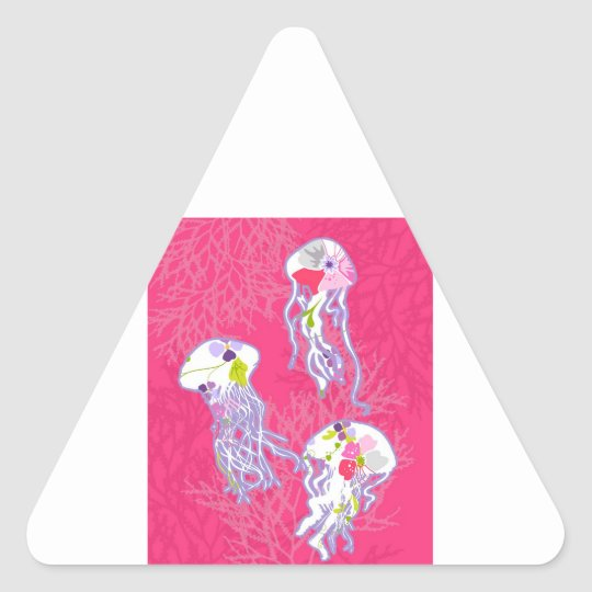 Jelly fishes on plain pink background. triangle sticker