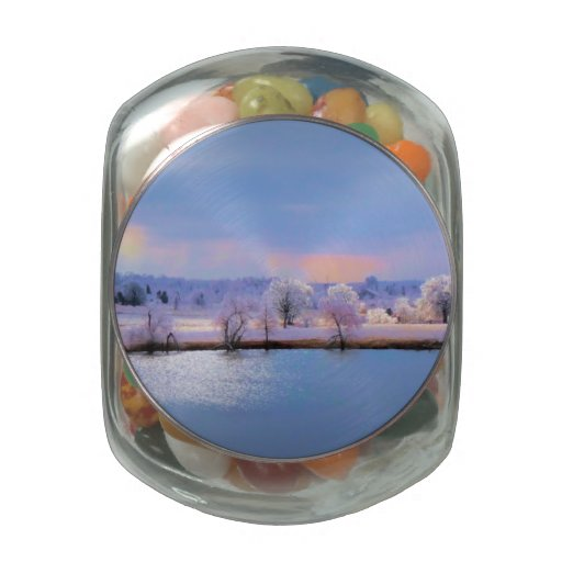 Jellybean Candy Tin,Icy Pond and Willows in Pastel