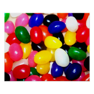 Jellybeans brillantemente coloreados póster