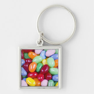 Jellybeans Silver-Colored Square Keychain