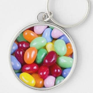 Jellybeans Silver-Colored Round Keychain