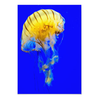 jellyfish-386680 BRIGHT ROYAL BLUE YELLOW COLORFUL 5x7 Paper Invitation Card