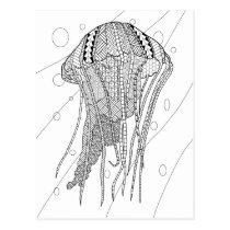 Jellyfish Adult Coloring Postcard