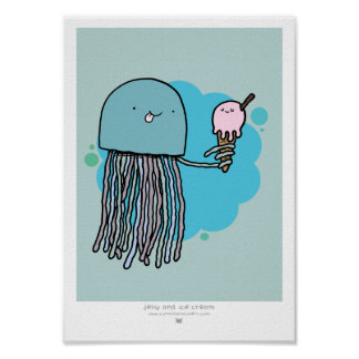 Jellyfish and ice cream A4 print Sage background