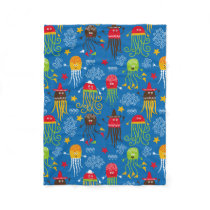 Jellyfish and Octopus Fleece Blanket