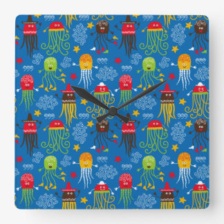 Jellyfish and Octopus Square Wall Clock