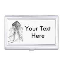 Jellyfish Black and White Pencil Sketch Business Card Holder