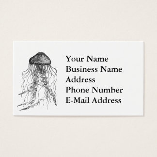 Jellyfish Black and White Pencil Sketch Design Business Card