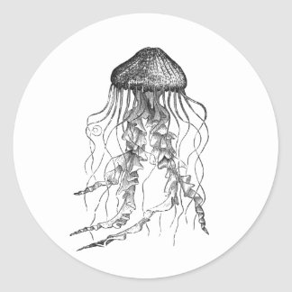 Jellyfish Black and White Pencil Sketch Design Classic Round Sticker