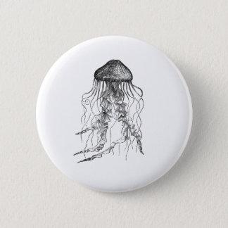 Jellyfish Black and White Pencil Sketch Design Pinback Button