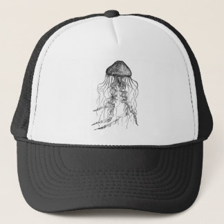 Jellyfish Black and White Pencil Sketch Design Trucker Hat