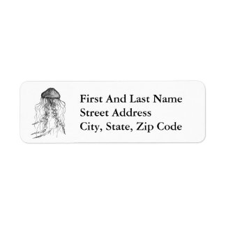 Jellyfish Black and White Pencil Sketch Label