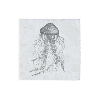 Jellyfish Black and White Pencil Sketch Stone Magnet