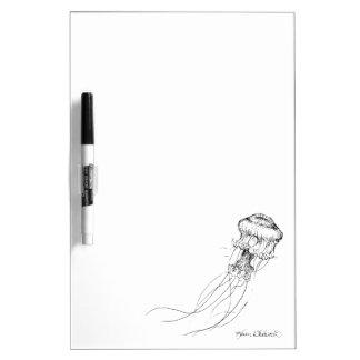 Jellyfish Black & White Drawing Dry Erase Board