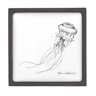 Jellyfish Black & White Drawing Keepsake Box