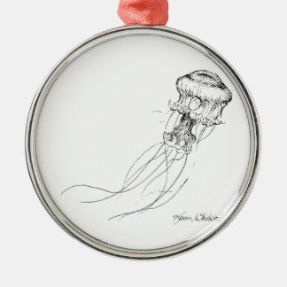 Jellyfish Black & White Drawing Metal Ornament